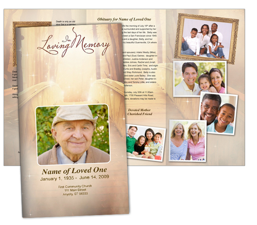 Crossing Large Tabloid Trifold Funeral Brochures Template