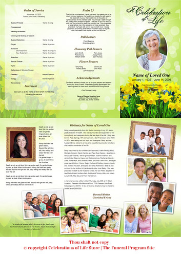 Daffodils Large Trifold Funeral Brochures Template inside view