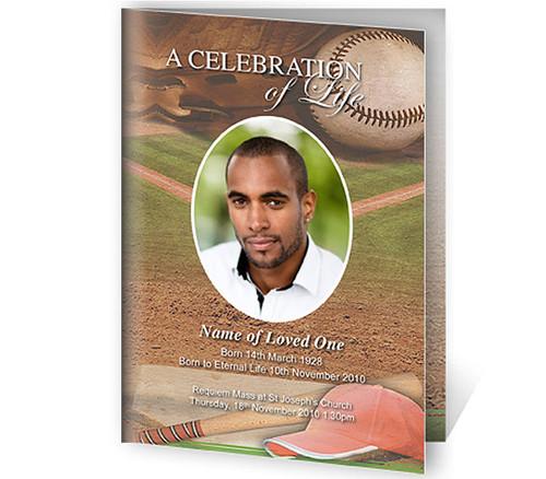 Baseball A4 Program Funeral Order of Service Template