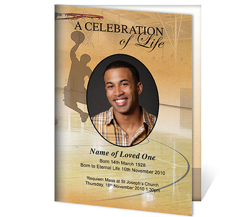Basketball A4 Program Funeral Order of Service Template