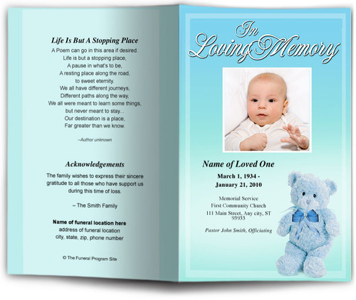 nursery blue Funeral Program Template