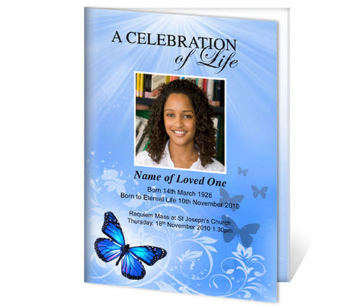Butterfly A4 Program Funeral Order of Service Template