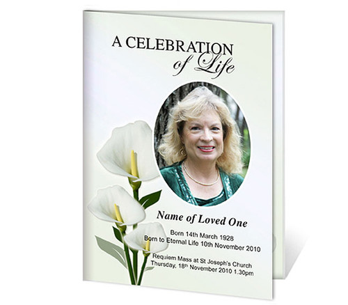 Calle A4 Program Funeral Order of Service Template