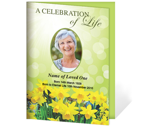 Daffodils A4 Funeral Order of Service Template