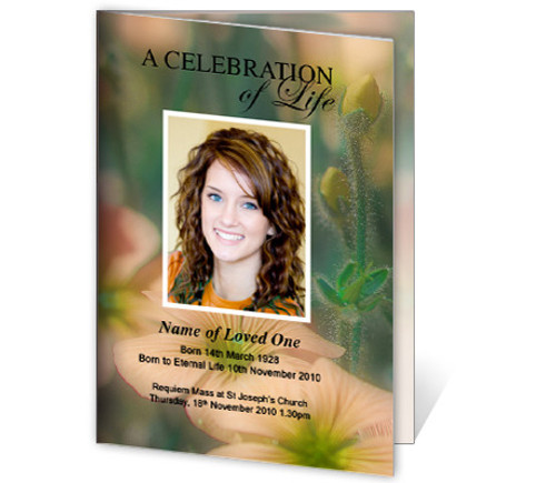 Floral A4 Funeral Order of Service Template