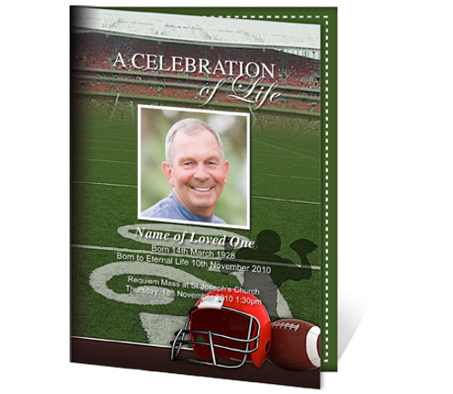 Football A4 Funeral Order of Service Template