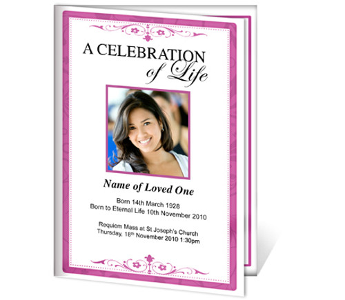 Fuschia A4 Funeral Order of Service Template
