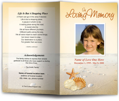 seashore Funeral Program Template