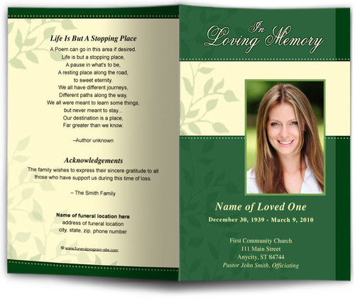 ambience green Funeral Program Template