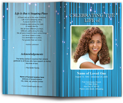 brilliance blue Funeral Program Template