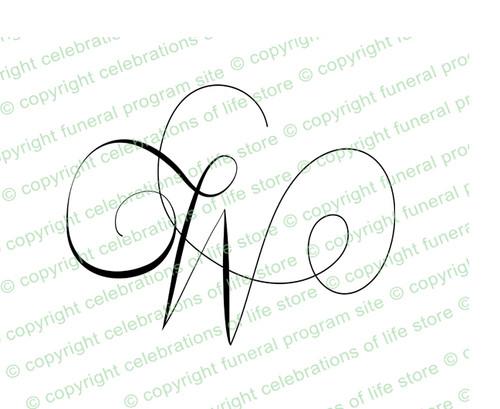 Monogram Script Letter W