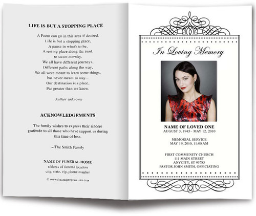 Accent Monogram Memorial Program Template