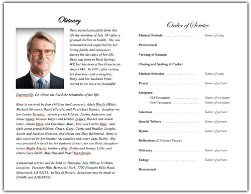 Monogram A Memorial Program Template inside view