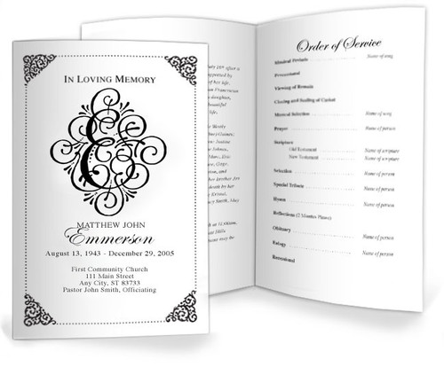 Funeral E Monogram Template