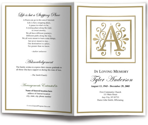 Funeral Gold A Monogram Template