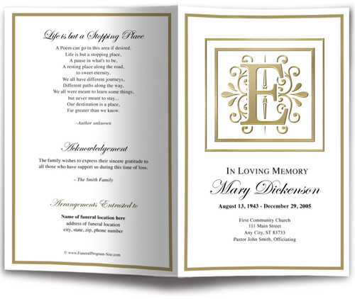Funeral Gold E Monogram Template