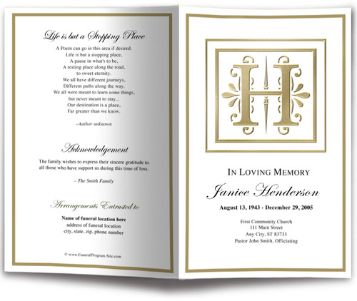 DIY Gold H Monogram Template