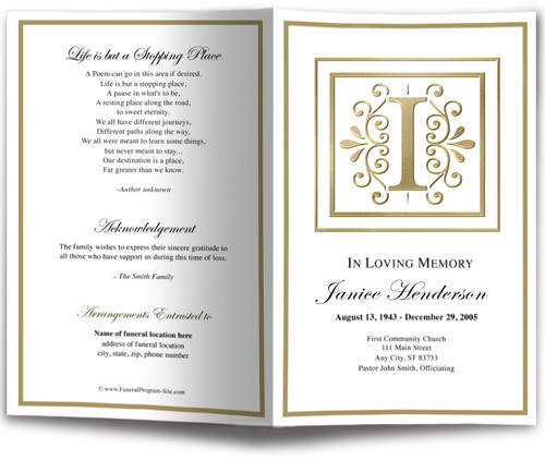 Funeral Gold I Monogram Template
