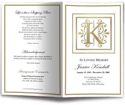 Funeral Gold K Monogram Template