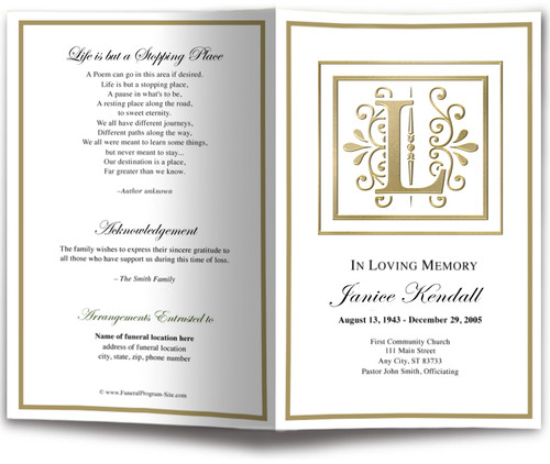 Funeral Gold L Monogram Template