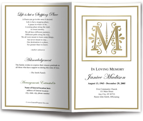 Funeral Gold M Monogram Template