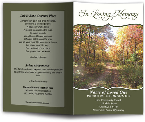 fall Funeral Program Template