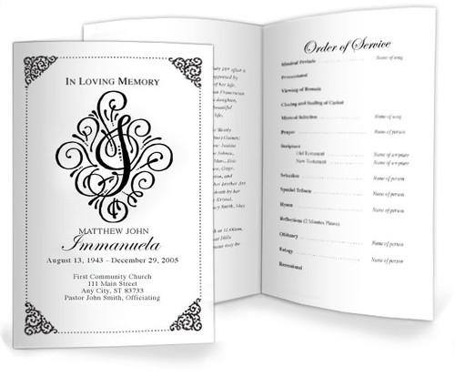 I Funeral Program Monogram Template