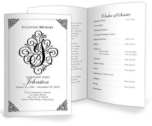 J Funeral Program Monogram Template
