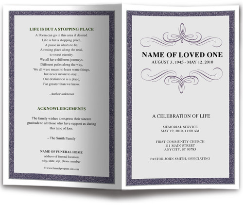Script Funeral Program Monogram Template