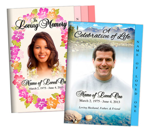 Custom Cover 4 Sided Graduated Funeral Program Templates