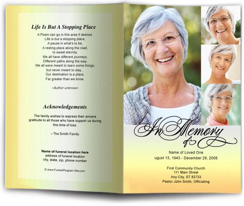 gradient yellow obituary program
