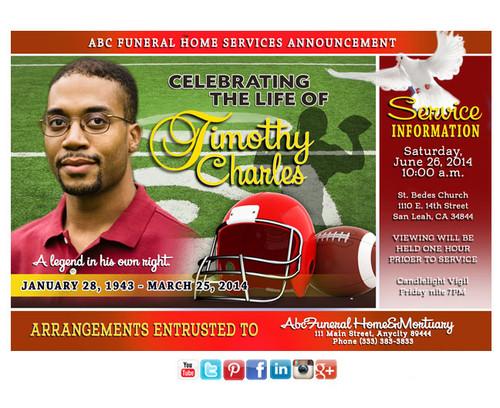 Football Funeral Announcement Social Media