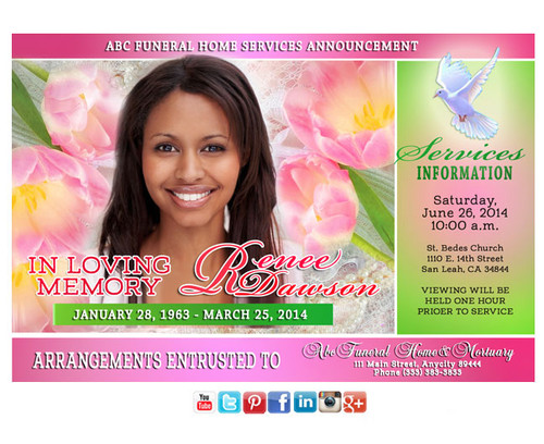 Pearls Funeral Announcement Social Media