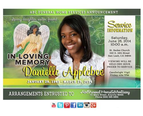 Angel Spirit Funeral Announcement Social Media
