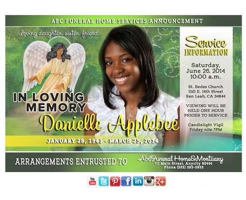 Angel Spirit Funeral Announcement Social Media