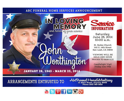 US Flag Funeral Announcement Social Media