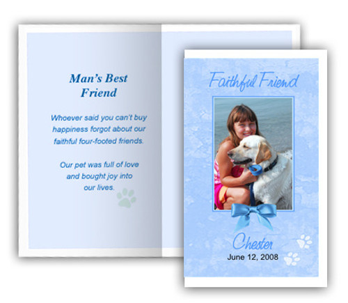 Blue Folded DIY Pet Memorial Card Template