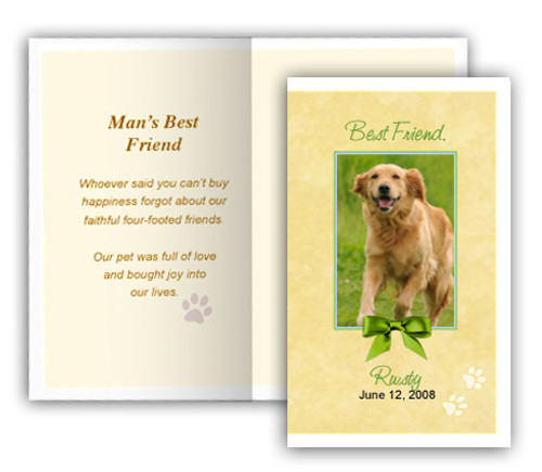 Gold Folded DIY Pet Memorial Card Template