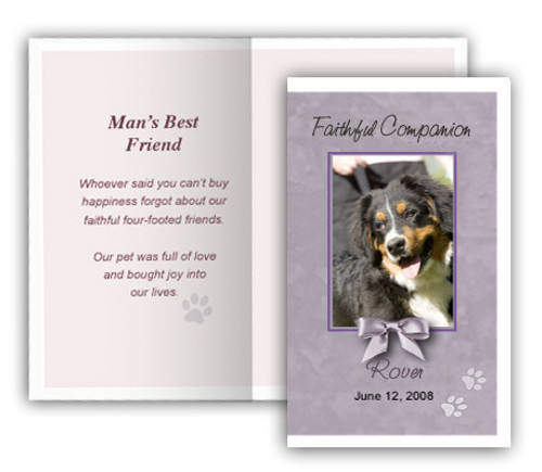 Gray Folded DIY Pet Memorial Card Template