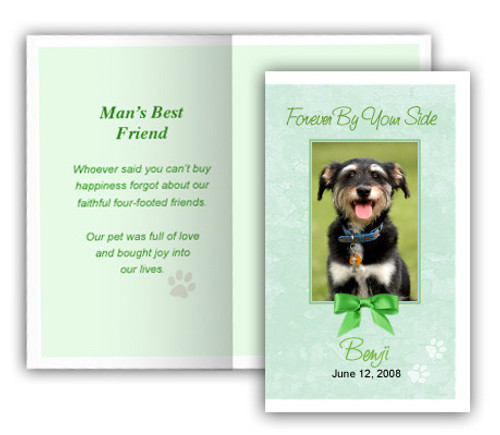Green Folded DIY Pet Memorial Card Template