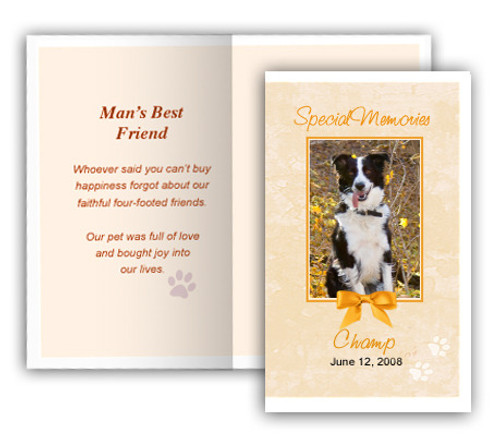 Peach Folded DIY Pet Memorial Card Template