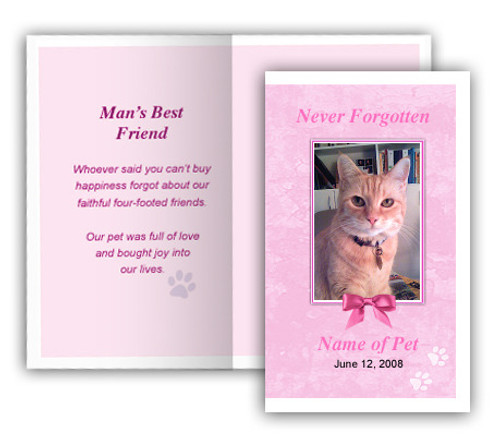 Pink Folded Pet Memorial Card Template