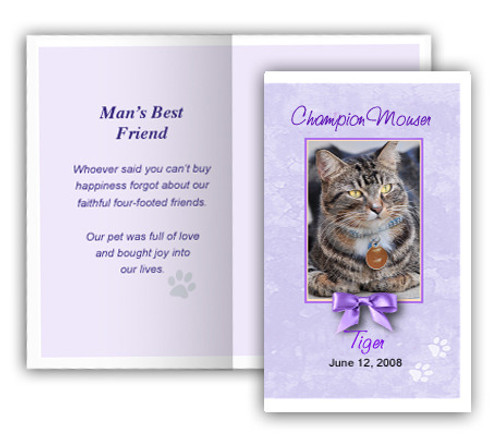 Purple Folded DIY Pet Memorial Card Template