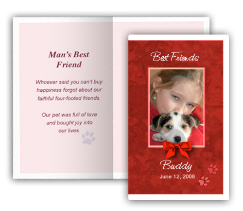 Red Folded DIY Pet Memorial Card Template