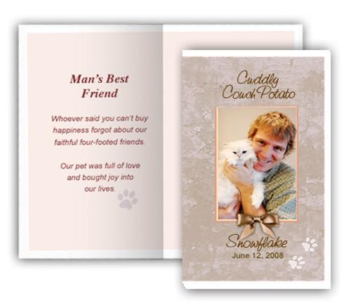 Tan Folded DIY Pet Memorial Card Template