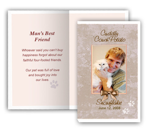 Tan Folded DIY Pet Memorial Card Template