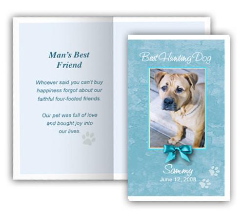 Teal Folded DIY Pet Memorial Card Template