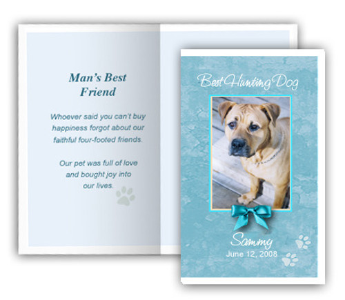 Teal Folded DIY Pet Memorial Card Template