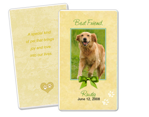 Gold Folded DIY Pet Memorial Card Templates
