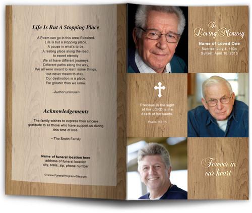 wooden Funeral Program Template